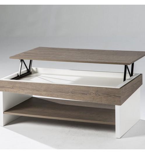 revendeur 4f9b8 4d8a8 Table basse Relevable bois et blanc