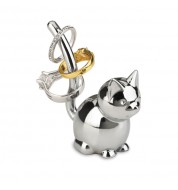 Porte-bagues chat en métal chromé Umbra