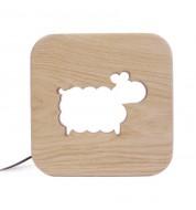 Lampe carré Mouton bois naturel