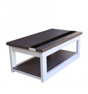 Table basse Relevable Wengé et blanc