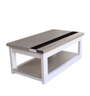 Table basse Relevable Chêne et blanc