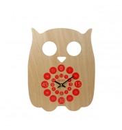Horloge pédagogique Hibou rouge