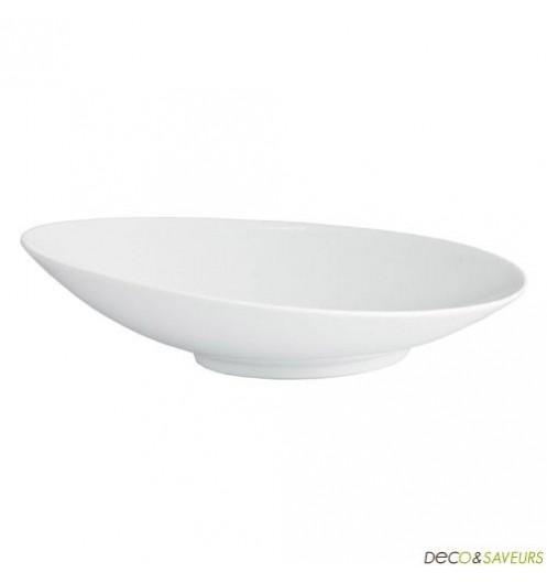 assiette a pates porcelaine blanche oblique art de la table. Black Bedroom Furniture Sets. Home Design Ideas
