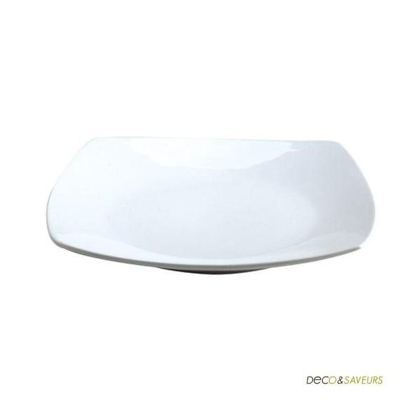 assiette carr e arrondie porcelaine blanche 26 cm art de la table. Black Bedroom Furniture Sets. Home Design Ideas