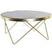 Petite table de salon ronde dorée plateau noir