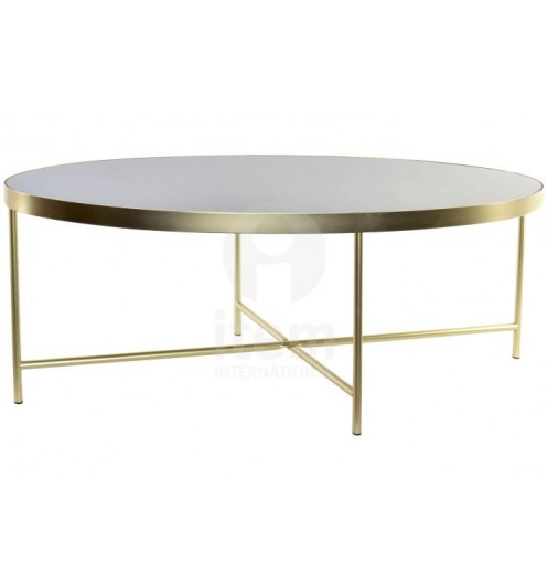 Grande Table basse ronde dorée plateau noir