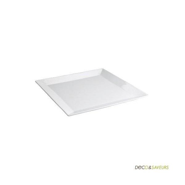 assiette carr e porcelaine blanche repas 27 cm art de la. Black Bedroom Furniture Sets. Home Design Ideas