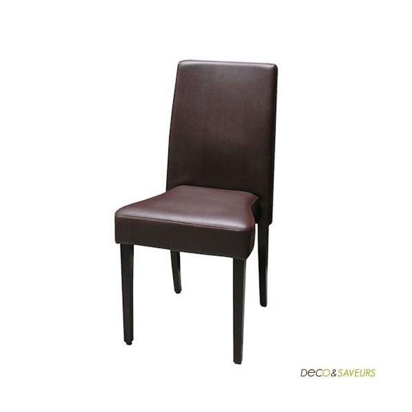 Chaise en bois massif marron x2 deco et for Chaise bercante en bois massif