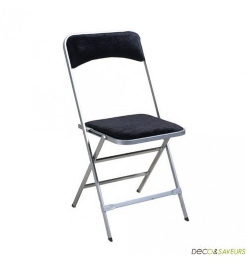 chaise pliante d clic lot de 4 velours noire deco et. Black Bedroom Furniture Sets. Home Design Ideas