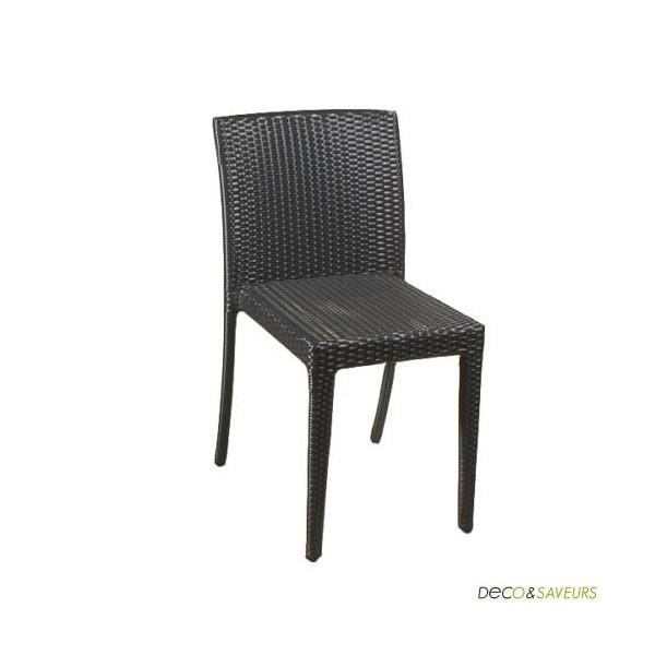 Chaise en r sine tress e toscane noire lot de 4 deco - Chaise longue en resine tressee ...