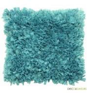 Housse coussin deco bleu à franges 45x45cm ROMANO