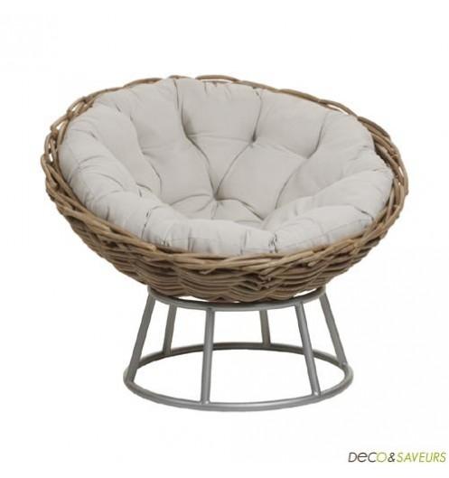 fauteuil rotin pivotant loveuse deco et. Black Bedroom Furniture Sets. Home Design Ideas