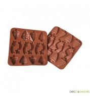 Moule chocolat en silicone (sapins et étoiles)