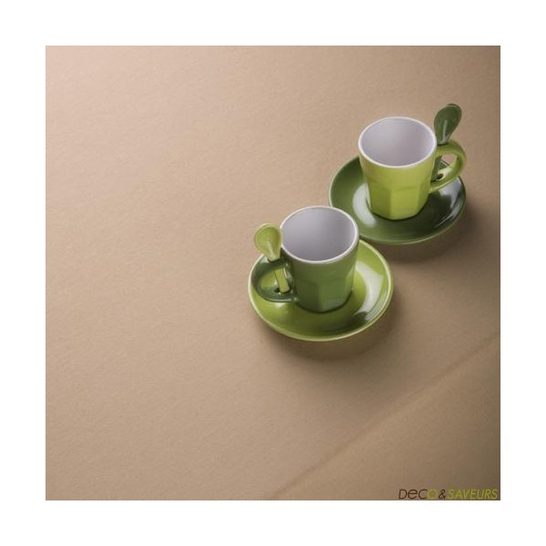 Nappe carr e coton sable 260x260cm grande nappe deco for Nappe pour grande table