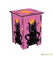 Tabouret enfant en bois imprimé chat rose