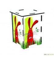 Tabouret enfant en bois imprimé lapin
