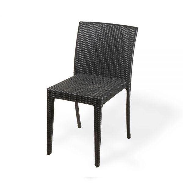 Chaise en r sine tress e toscane noire lot de 4 deco for Chaise longue en resine tressee