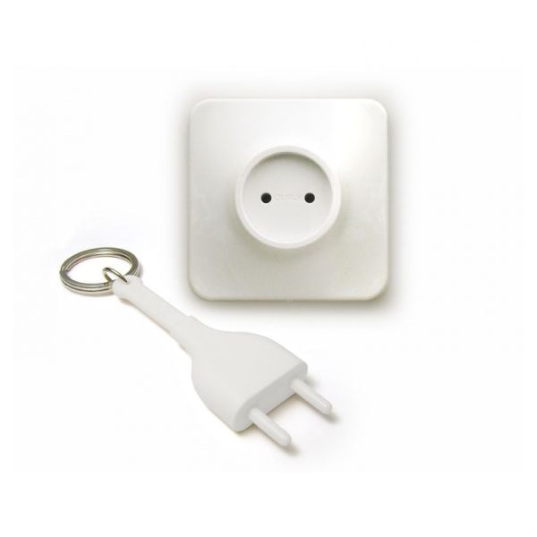 Accroche cl mural qualy unplug blanc accessoire de for Accroche cle mural design