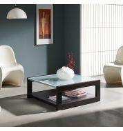 Table basse carrée verre et bois 90 cm