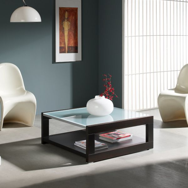 Table basse carr e bois et verre mobilier - Grande table basse de salon ...