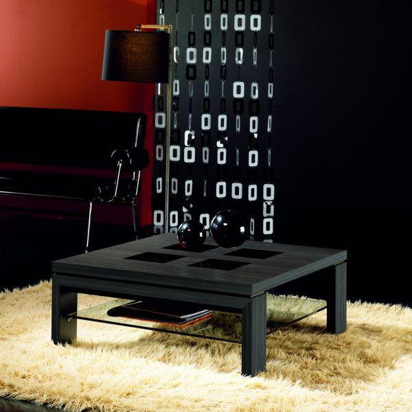 Table basse carrée verre et bois grise 90 cm Deco et saveurs