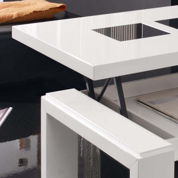 Table Basse Blanche Et Bois Relevable