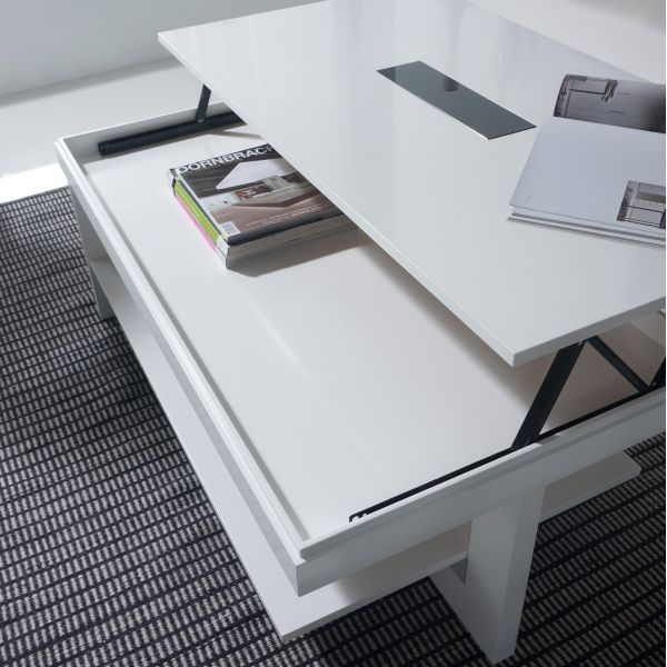Table basse relevable bois blanche karla mobilier - Table de salon blanche ...