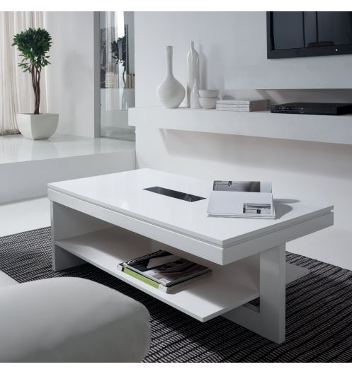 Table basse relevable bois blanche karla mobilier - Table basse avec tablette relevable ...