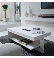 Table basse relevable bois blanche design