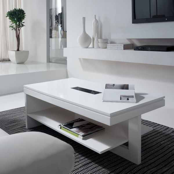 Table basse relevable bois blanche karla mobilier - Table relevable blanche ...