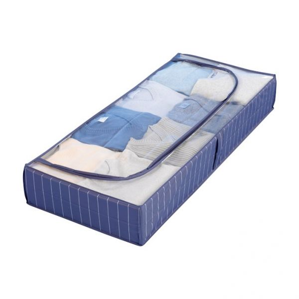 Housse de rangement bleue boite de rangement vetement - Boite rangement sous lit ikea ...