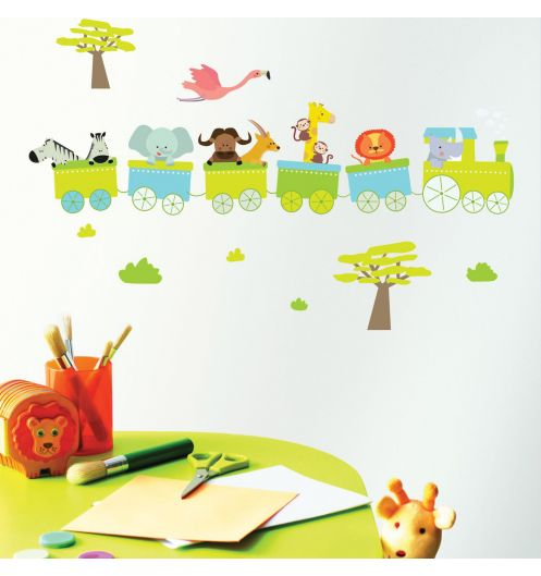 Stickers enfant train stickers chambre enfant - Stickers muraux bebe garcon ...