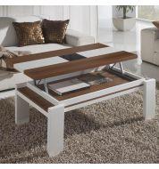 Table basse relevable blanc et bois