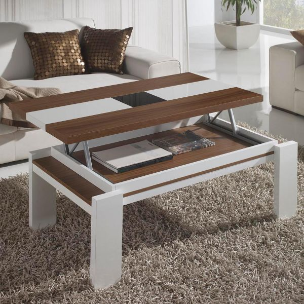 Table basse relevable blanc et bois mobilier - Table basse relevable blanc laque ...