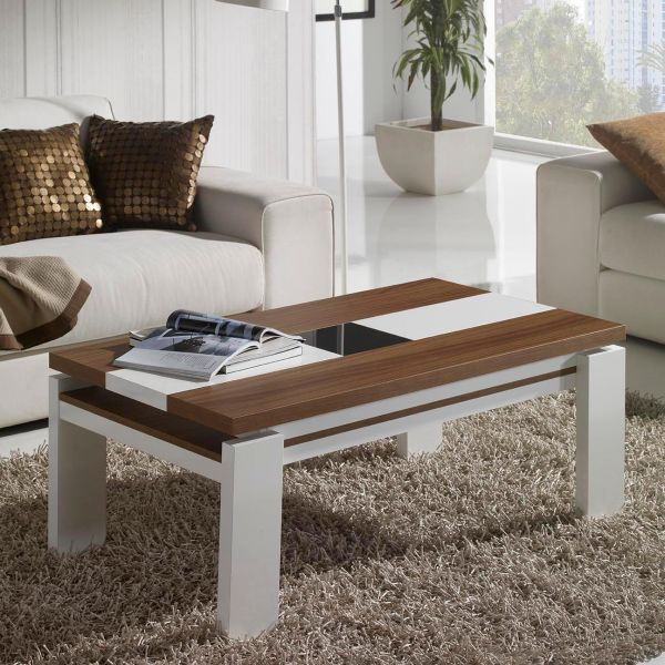 Table basse relevable blanc et bois mobilier for Table en bois et banc