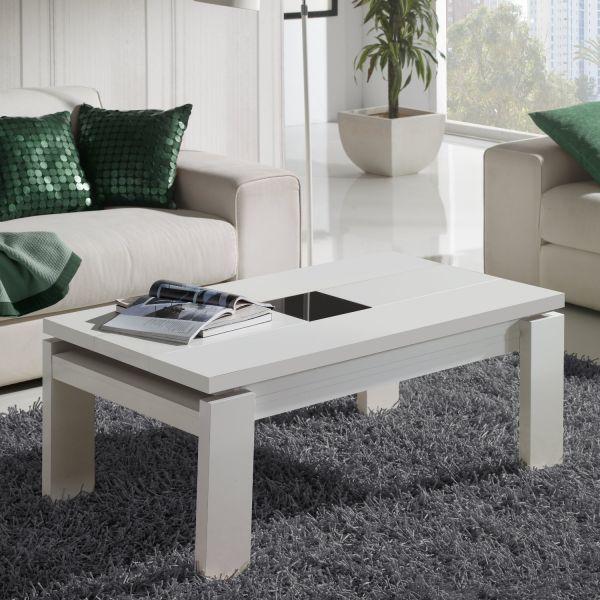 Table basse relevable blanche centre verre - Table relevable blanche ...