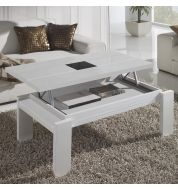Table basse relevable blanche (centre verre)