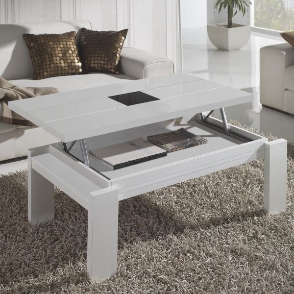 Table basse relevable blanche centre verre for Table de salon relevable