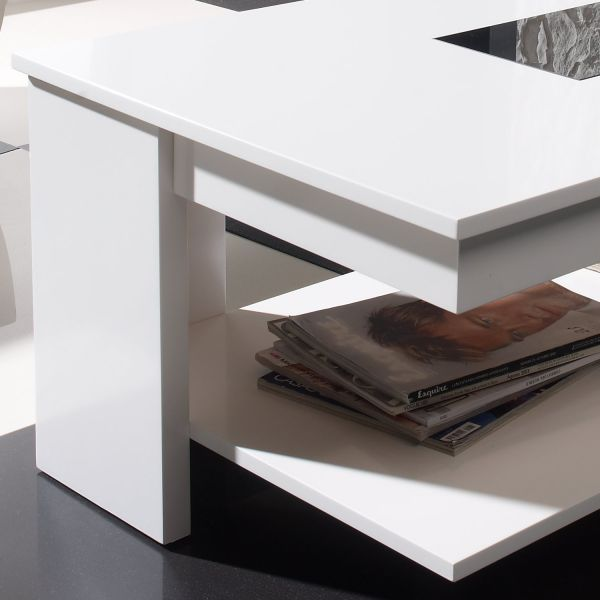 Table basse relevable design blanche meuble - Table basse blanche relevable ...