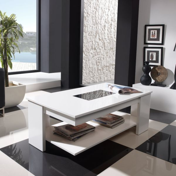 Table basse relevable design blanche meuble for Table design blanche