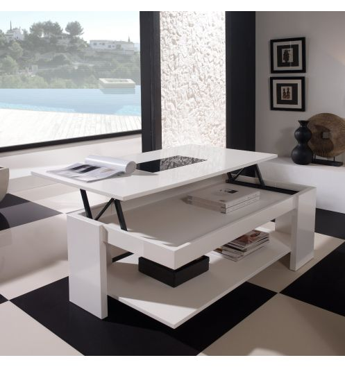 Table basse relevable design blanche meuble for Table basse blanche design