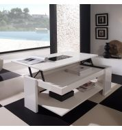 Table basse relevable design blanche
