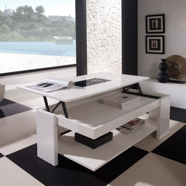 Table basse relevable design blanche meuble for Table basse relevable blanche