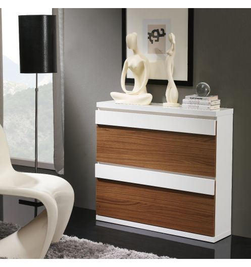 Meuble chaussures 2 compartiments noyer et blanc meuble - Commode blanche et grise ...