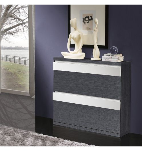 meuble chaussures 16 paires gris et blanc rangement maison. Black Bedroom Furniture Sets. Home Design Ideas