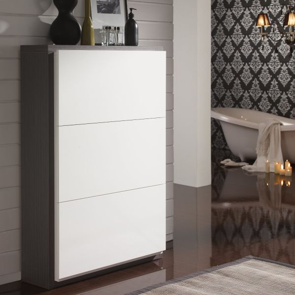 meuble chaussures 18 paires blanc et gris meuble. Black Bedroom Furniture Sets. Home Design Ideas