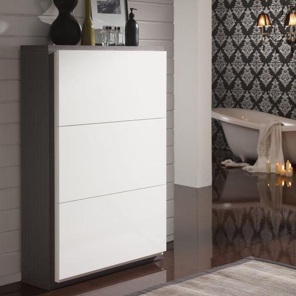 Meuble chaussures 18 paires blanc et gris meuble for Meuble salon blanc et gris