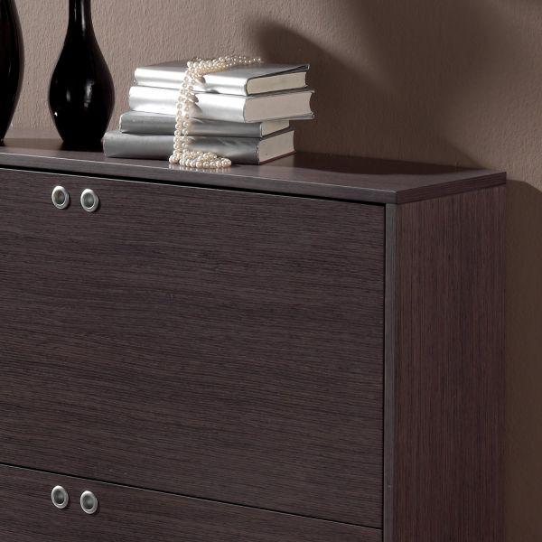 meuble chaussures bas 16 paires bois cendr rangement. Black Bedroom Furniture Sets. Home Design Ideas