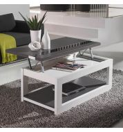 Table basse relevable plateau gris