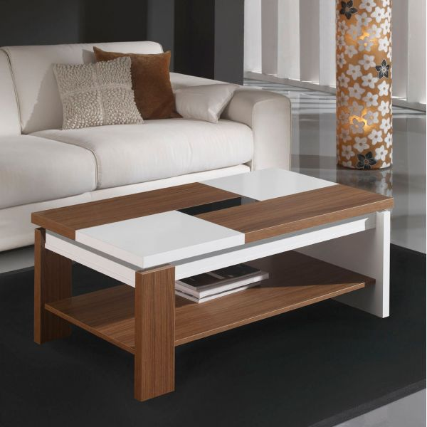 Table basse relevable plateau bois et blanc mobilier et d co - Table basse relevable fly ...